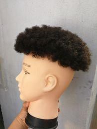 Toptan satış Afro curl İnsan saç peruk siyah renk için kısa hint remy saç erkek peruk postiş peruk siyah erkekler Ücretsiz Kargo