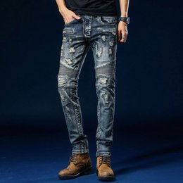 61108f094d5 Discount jeans slim fit hombre - Ripped biker jeans crinkle patchwork denim  trousers slim fit zipper