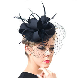 d67687209641f 2018 Vintage Cap Summer Formal Linen Net Yarn Wedding Hats Elegant Bridal  Hats for Women Wedding Hair Accessories chapeau mariage Top Caps