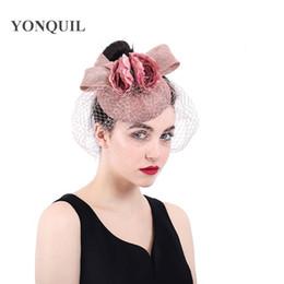 Bow and flower hat fascinator Peach headwear wedding ladies days race Ascot  veils hats bridal married headdress fedora chapeau SYF379 aa476d2a833