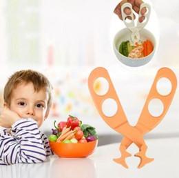 Ingrosso Forbici per bambini Frantumazione Clip professionale Safe Care Crush Bambino Bambini Tagliare Cesoie Alimentare Toddlers Forbici CCA10673 60 pz