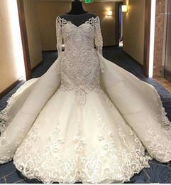 wedding dress dubai abaya 2019 - Luxury 3D Aplique Floral Wedding Dresses with Detachable Train 2018 Sheer Jewel Mermaid Plus Size Dubai Abaya Muslim Chu