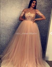 658b7ae17 Vestidos de noche de encaje Vintage 2018 Sexy Sheer cuello mangas cortas  con cuentas vestidos de baile Tulle una línea de dama de honor vestidos  formales ...