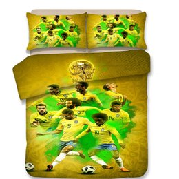 Set Designs Canada - 3 Designs World Cup Football Pattern Bedding Set 3PC Duvet Cover Set Of Quilt Cover & Pillowcase Twin Full Queen King Size