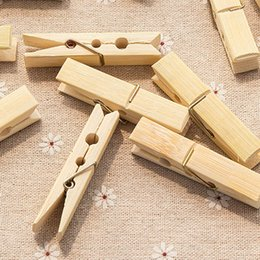 Wholesale Natural Bamboo Clip Windproof clip Hang the clothes Socks Clips Multi function Clothes drying Robe Hooks Daily Supplies