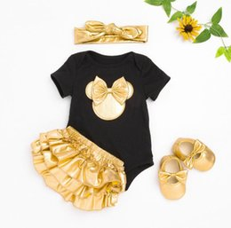 Baby Girl Ruffled Bloomers Canada - Wholesale- Infant Brand Baby Clothing Sets Cotton Baby Girl Short Sleeve Bodysuit+Gold Ruffles Bloomers+Headband+Shoes Newborn 2016