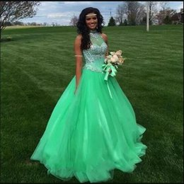 8705434195d Green Princess Quinceanera Dresses 2018 High Sheer Neck Sweet 16 Ball Gown  Crystals Keyhole Back Debutante Gowns Tulle Vestidos De 15 Party