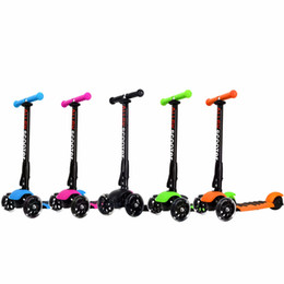 Discount kick scooter wheels - Scooter 5 Colors 3 Wheel Adjustable Height PU Flashing Wheels Kick Scooter Folding System for Kids Children 3 to 17 Year
