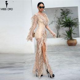 Elegant Jumpsuits Sleeves Australia - Missord 2018 WINTER Sexy Deep V Ruffles Long Sleeve Female Elegant Ovaralls High Split See Through Jumpsuit FT9561