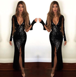 White shiny lace mermaid dress online shopping - 2019 Real Shiny Black Mermaid Prom Dresses Sexy Deep V Neck Long Sleeves Sheer Backless Full Sequined Split Side Long Evening Gowns BA9892