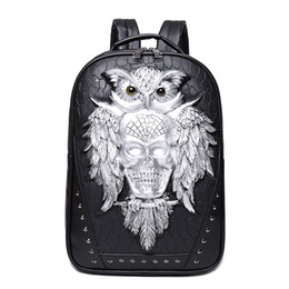 Chinese  Fashion Skull Backpack 3D Leather Backpack Computer Laptop Cool Owl Women Men Travel Bags School Punk Rivets Bags manufacturers