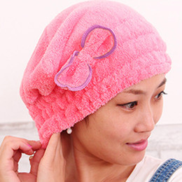 Vente en gros Bonnet de douche coloré Enveloppé Serviettes Chapeaux de salle de bain en microfibre Superfine solide rapidement sécher cheveux chapeau accessoires de bain