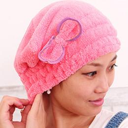 Ingrosso Cappelli da bagno colorati in microfibra di asciugamani avvolti in cuffia da bagno Solid Superfine Asciugacapelli rapido per il bagno Accessori per il bagno