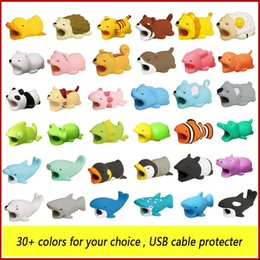 Wholesale Funny phone Cable Bite Protector saver for iPhone Lightning Cable savor Winder Phone Holder Accessories Organizer Animal Rabbit Dog Cat Toy