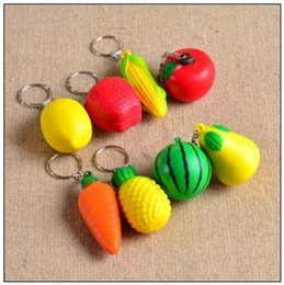 Discount cell phone straps charms - PU Squeeze Fruit Key Chain Vegetable Phone Charms Keychain Cell Phone Straps Handbag Purse Pendant Keyring CCA9578 500pc