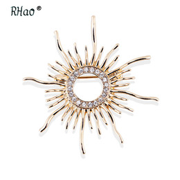sun brooch 2019 - RHao Sun Shaped Brooches For Women Femme Scarf Clip Pins Cool ing Coat Cardigan Fine Broche Hijab Pins Scarf Buckles cor