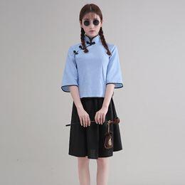 3fcc150bf Ropa de rendimiento de las muchachas de la vendimia traje de graduación  collar mandarín Tang traje de ropa de cosplay chino de la década de 1930  desgaste ...