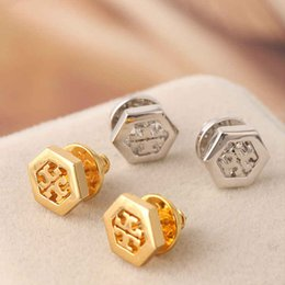 Wholesale Fashion earrings Big brand design high end hexagon hollow gold plated earrings women s stud in stock colors