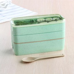 Plastic Packaging box food online shopping - Creative Food Grade Plastic Bento Boxes Multi Color Children Lunch Box Portable Lunchbox Container Oven Dinnerware Set Hot Sale wd aa