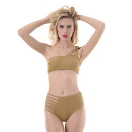 $enCountryForm.capitalKeyWord UK - Sexy Two Piece Suit Women Hollow Out Solid Swimsuit Blue Green Yellow Beach Bathing Suits Cut One Shoulder Bandage Swimwear