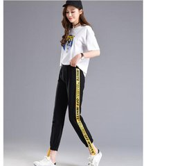 korean hip hop clothing Australia - Spring Autumn Fall Letter Side-stripe Pants Female M-2XL Loose Elastic Waist Women Pants Summer Hip Hop Clothes Korean Trousers S18101605