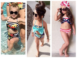 Girl Kids Swimming Suits Wholesale NZ - Fashion kids girls swimmers bathers clothes kids baby girls bikini suit summer kids halter striped swimwaer swimming clothes 9 styles