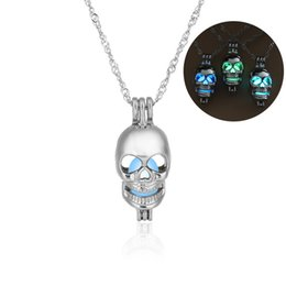 Pearl Pendant Charms Wholesale Australia - Fashion glow in the dark Skull pendant necklaces Hollow luminous pearl cage Lockets Skeleton Charm necklace For women 2018 Halloween Jewelry