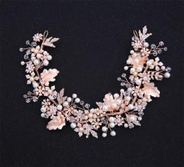 Gül Altın Kafa Düğün Gelin Çiçek Taç Tiara Kristal Rhinestone Saç Aksesuarları Band Takı Prenses Kraliçe Başlığı Headdress