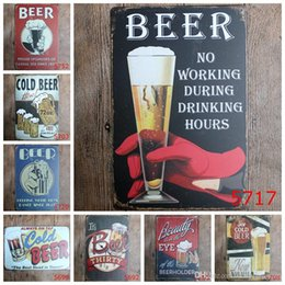 retro home bars 2018 - Ice Cold Beer Vintage Craft Tin Sign Retro Metal Painting Antique Iron Poster Bar Pub Signs Wall Art Sticker(Mixed desig