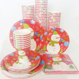 $enCountryForm.capitalKeyWord NZ - Wholesale-40pcs set Disposable Christmas Snowman Santa Claus Tableware Paper Plate Cup Napkin Decoration Supplies Table Holder Decor Party