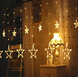 String Red Star Lights NZ - Christmas Lights 138LEDS AC 220V EU AU US Romantic Fairy Star LED Curtain String Lighting For Holiday Wedding Garland Party Decoration