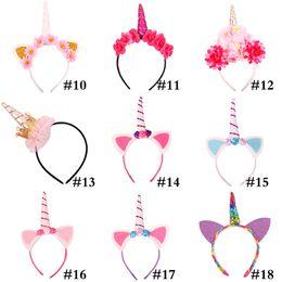 Cute Cat Cosplay online shopping - Fashion Unicorn Headband Party Supplies Girls Chiffon Flowers Hairband Kids Cosplay Crown Children Birthday Party Cute Cat Ears WX9