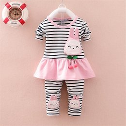 Wholesale Cola Baby Girl Spring Clothing Sets Toddler Girls Cotton Stripe Sport Suit Set Children Kids Casual Clothes Set Baby Clothes