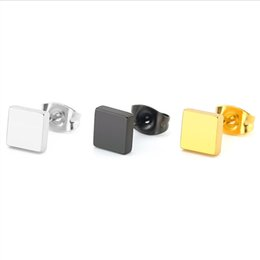 $enCountryForm.capitalKeyWord Canada - 10piars lot Simple Hiphop Solid Square Stainless Steel Earrings Black Gold Geometric Ear Studs Jewelry For Women Men