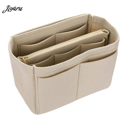 ladies cloth handbags 2019 - Women Make Up Bag Felt Cloth Insert Bags Multifunctional Handbag Cosmetic Organizer Toiletry Handbags Ladies Travel Orga