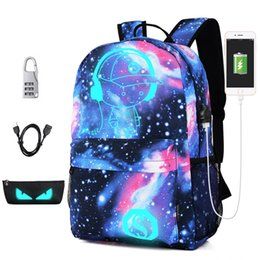 e404fec60054 New Luminous School Bags For Boy Starry Sky Student Backpack Daypack  Shoulder 15-16 inch with USB Charging Port Lock Backpacks