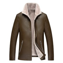 clothes middle ages UK - 1711 New Fashion Winter Man Clothes male Fur sheep skin leather coat lapel middle-aged male casual Slim Leather Jacket
