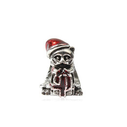 Discount cat charms for pandora bracelets - Christmas Cat Red Hat Oip Dripping Charm Bead Big Hole Fashion Women Jewelry European Style For Pandora Bracelet Necklac