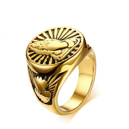 mens cluster rings NZ - Wholesale Mens Gold Rings Stainless Steel Devout Namaste Gesture Design Male Prayer Jewelry US Size 8 9 10 11 12