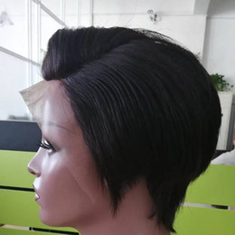 short cut human hair wigs 2019 - Straight Lace Front Human Hair Wigs Cheap Pixie Cut Short With Baby Hair African Hair Cut Style Brazilian Ladies Wig For