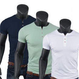 Mens Shirts Styles V Necks Canada - High Quality 95% Cotton Casual Polo Style Tee Shirt Short Sleeve V Neck Mens Silm Fit T Shirts