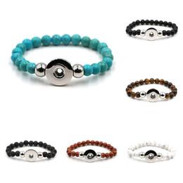 Black Button eyes online shopping - Snap Bracelets Bangles Fit Snap Button Jewelry Women Men Elastic Charm Bracelet Black Lava Turquoise Tiger eye Natural Stone Bead Bracelet