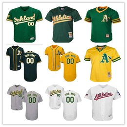 2f41cfb10 custom Men s women youth Majestic Oakland Athletics Jersey Personalized Name  and Number Green Grey White Kids Girls Baseball Jerseys
