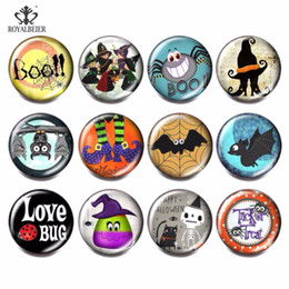 Snap Glasses For Australia - RoyalBeier 12pcs lot Multi Mix Halloween Glass Beads Charms 18mm Snap Button Jewelry For 18mm Bead for Jewelry Making kg0049