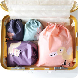 Packing Clothes For Storage NZ - Square Drawstring Bags Portable Foldable Storage Bags For Travel Clothes Organizer Packing Bundle Pocket Candy Color Design 2 1mh ZZ