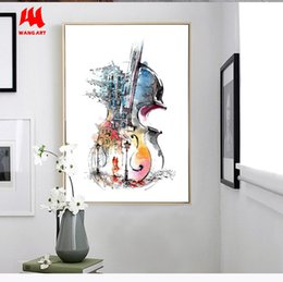 Paintings Guitars Wall Australia - WANGART Nordic Poster Canvas Print Guitar Abstract Still Life Wall Pictures For Living Room Surrealism Home Decor No Frame JY49