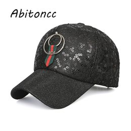 aec18b95ac0 Abitoncc Fashion Breathable Lace Baseball Cap Women Men Sequins Visor Casual  Snapback Hats Trucker Caps For Female Sport Hat