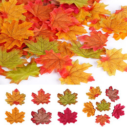 Discount red event decor - Free Shipping 100PCS Lot New Artificial Maple Leaves Simulation Decorative Maple Leaves Fake Fall Leaves For Home Weddin