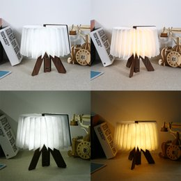 Folding Art Table Australia - LED Night Light Wooden Folding Book Light USB Rechargeable Foldable Book Lamp For Living Room Bedroom Table Desk Lamp Decorate