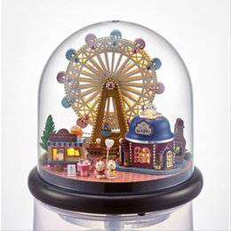 Toy Furniture Wholesale NZ - Ferris wheel Dollhouse Wooden Doll Houses Miniature Home Assembling Dollhouse Diy Glass Ball Toys Kit totoro Figure Birthaday Gift